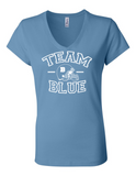 Team Blue Football Gender Reveal 6005 Womens V-Neck T-Shirt