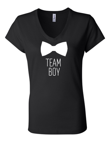 Team Boy Bowtie Gender Reveal 6005 Womens Premium V-Neck T-Shirt Humorous T