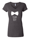 Team Boy Bowtie Gender Reveal 6005 Womens V-Neck T-Shirt