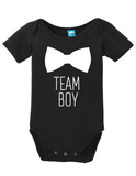 Team Boy Bowtie Gender Reveal Onesie Funny Bodysuit Baby Romper