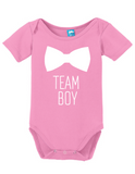 Team Boy Bowtie Gender Reveal Onesie