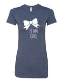 Team Girl Bow Gender Reveal 6004 Premium Women's Crewneck T-Shirt Slogan