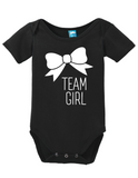 Team Girl Bow Gender Reveal Onesie Funny Bodysuit Baby Romper