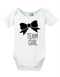 Team Girl Bow Gender Reveal Onesie