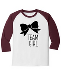 Team Girl Bow Gender Reveal 5700 Raglan T Shirt