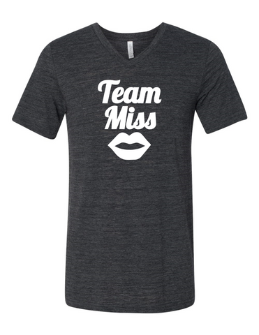 Team Miss Gender Reveal 3005 Premium V-Neck T-shirt Slogan Humorous T