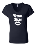 Team Miss Gender Reveal 6005 Womens Premium V-Neck T-Shirt