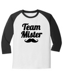 Team Mister Gender Reveal 5700 Raglan T Shirt Slogan Humorous