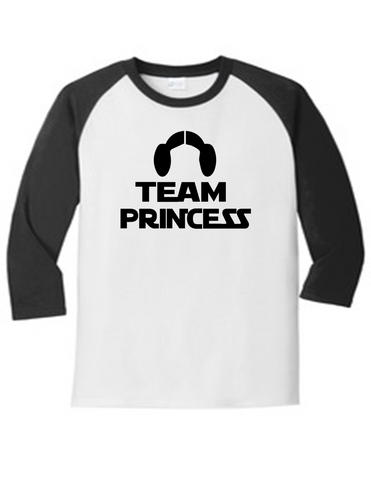 Team Princess Gender Reveal 5700 Raglan T Shirt Slogan Humorous