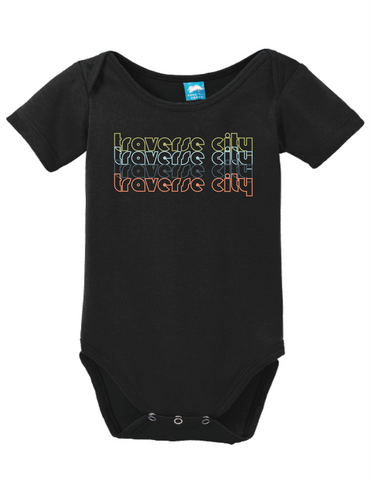 Traverse City Michigan Retro Onesie Funny Bodysuit Baby Romper