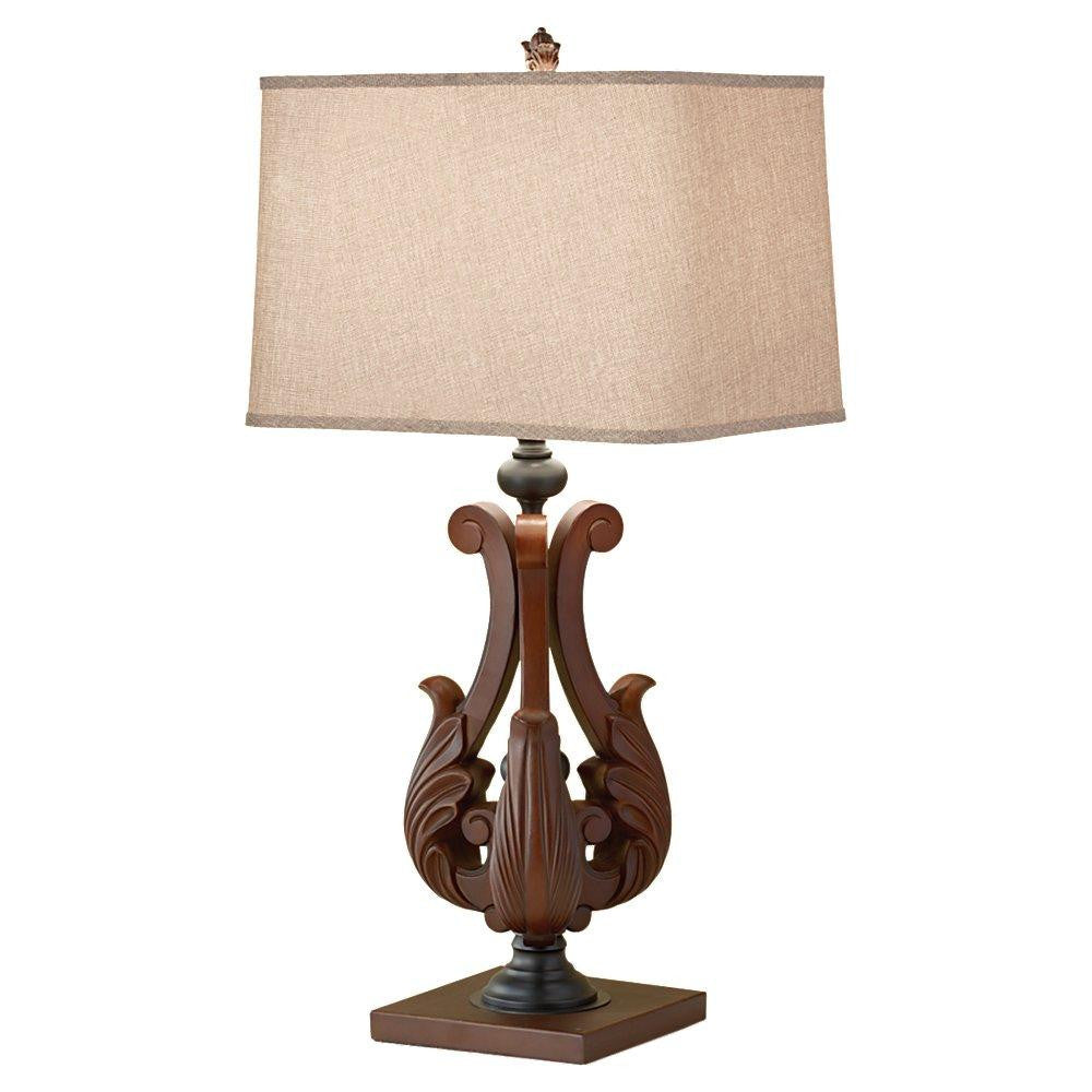 Feiss 10145DAW-B One Light Dark Aged Wood Beige Linen Shade Table Lamp