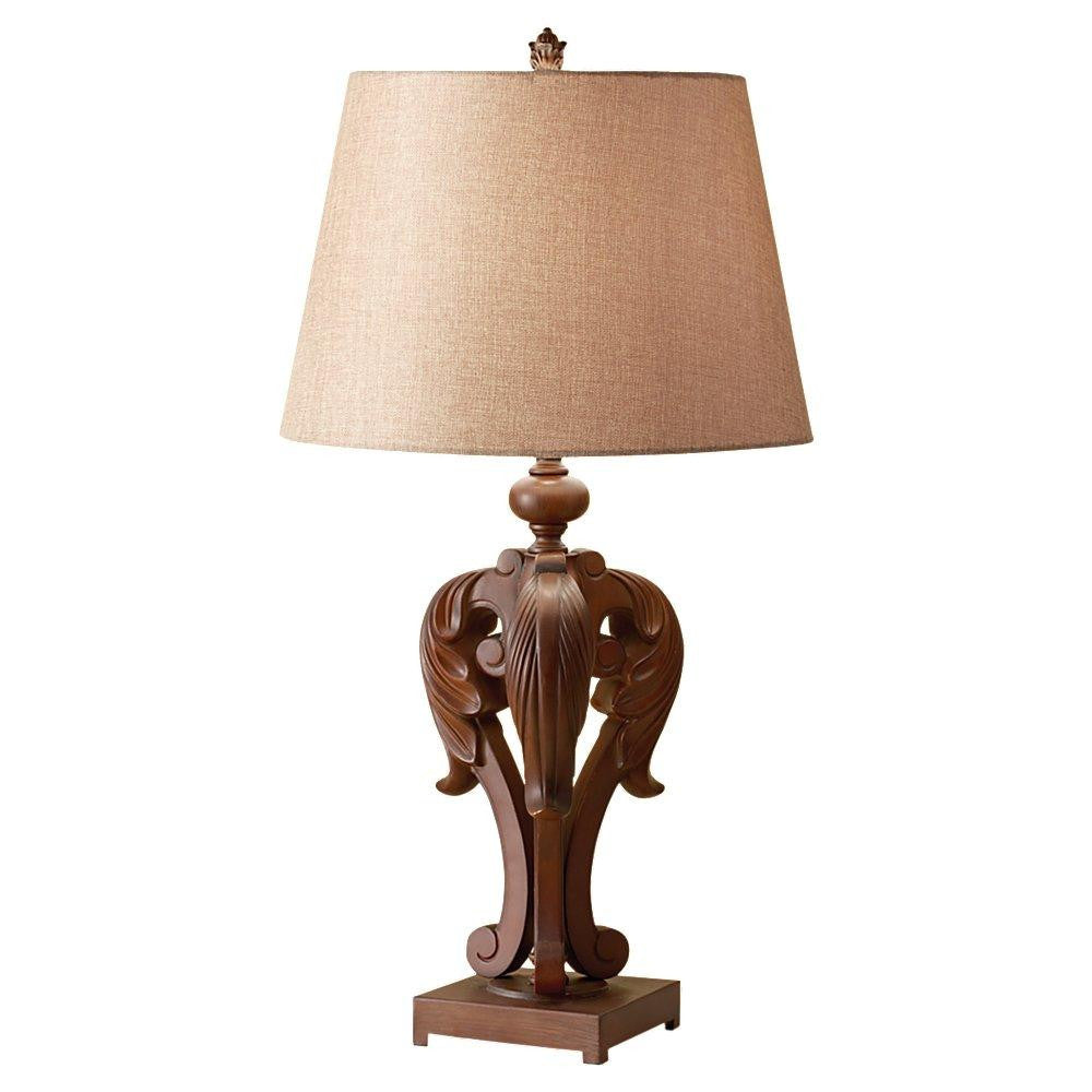 Feiss 10146DAW One Light Dark Aged Wood Beige Linen Shade Table Lamp