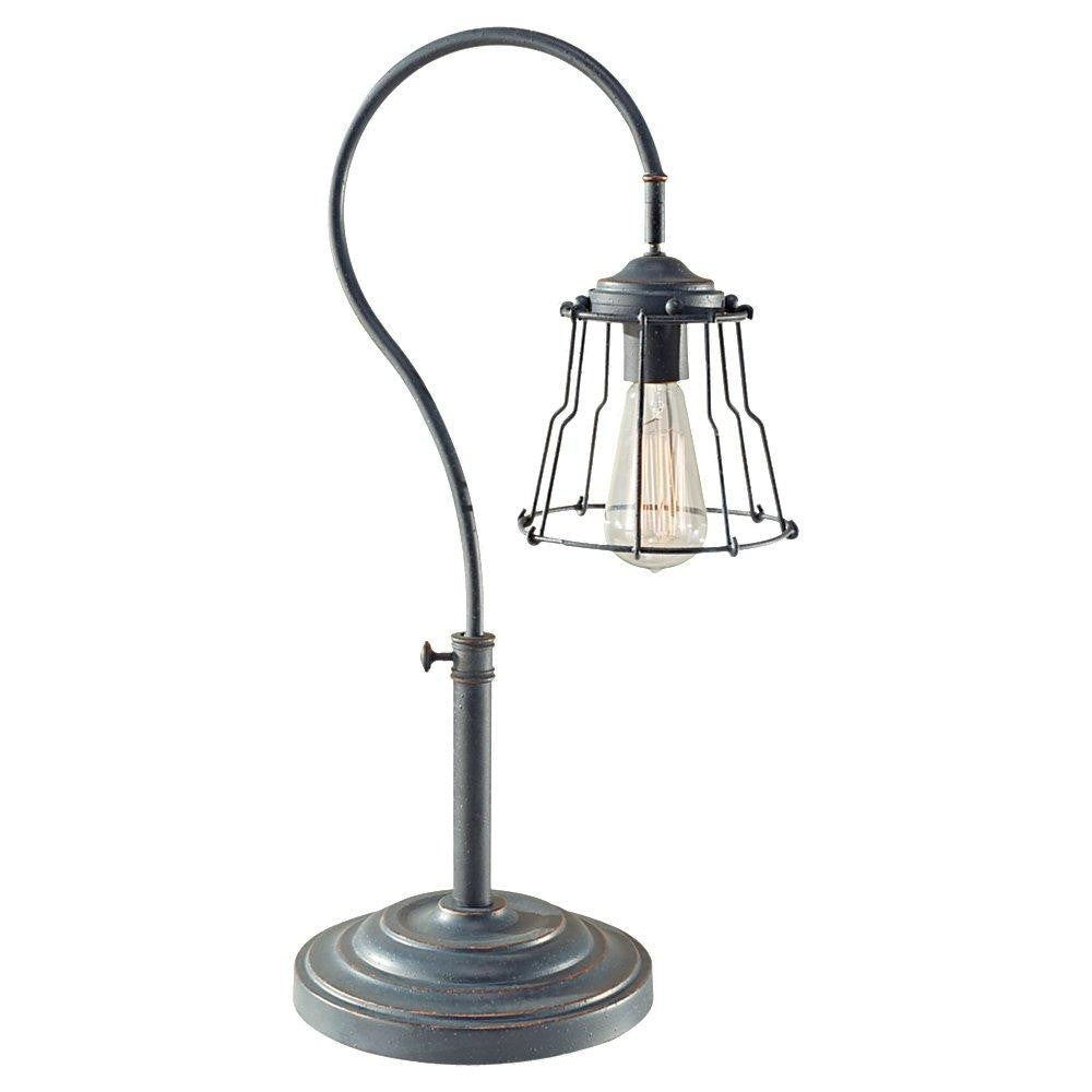 Feiss 10194AF-B One Light Antique Forged Iron Steel Shade Table Lamp