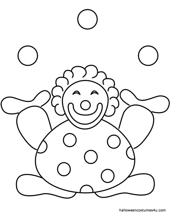 juggling circus clown halloween coloring page - Coloring Pages For Paint Program