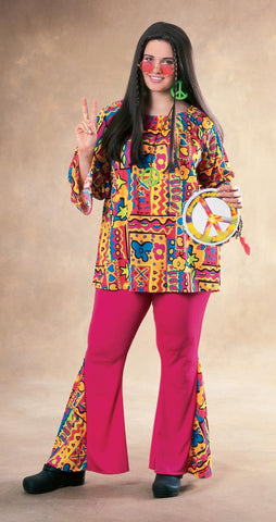 Womens Plus Size Hippie Costume - HalloweenCostumes4U.com - Adult Costumes