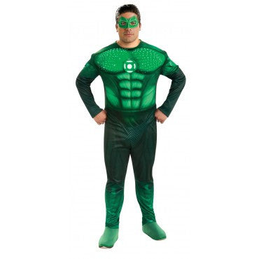 Mens Plus Size Green Lantern Deluxe Light Up Hal Jordan Costume - HalloweenCostumes4U.com - Adult Costumes