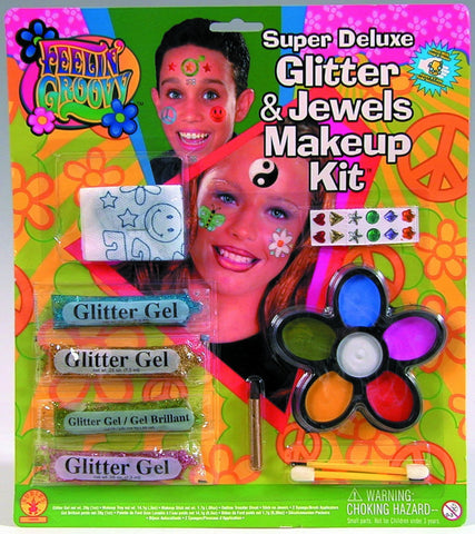 Super Deluxe Glitter and Jewels Makeup Kit - HalloweenCostumes4U.com - Accessories