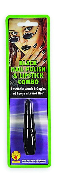 Black Nail Polish & Lipstick Combo - HalloweenCostumes4U.com - Accessories
