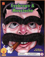 Black Large Moustache & Eyebrows Set - HalloweenCostumes4U.com - Accessories