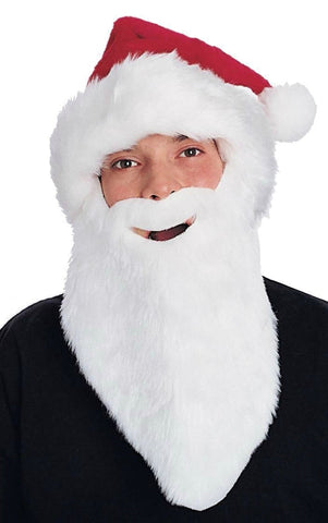 Adults Plush Santa Hat w/ Beard