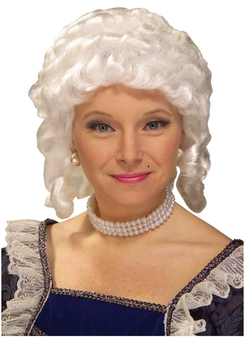 Colonial Woman Wigs Curly White Wigs - HalloweenCostumes4U.com - Accessories