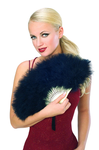 Black Marabou Feather Fan - HalloweenCostumes4U.com - Accessories