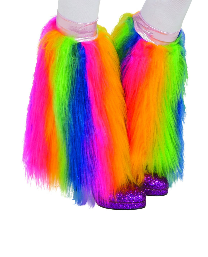 Adults Rainbow Fluffy Leg Warmers - HalloweenCostumes4U.com - Accessories