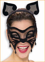 Black Mesh Cat Eyemask & Ears Set - HalloweenCostumes4U.com - Accessories