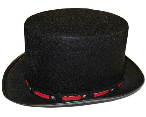 Black Top Hat w/ Red Trim - HalloweenCostumes4U.com - Accessories