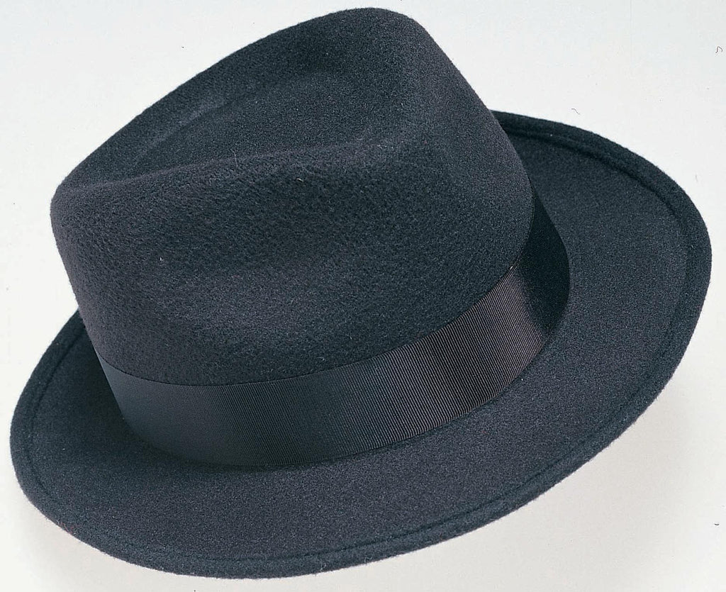 Black Deluxe Profelt Gangster Hat - HalloweenCostumes4U.com - Accessories