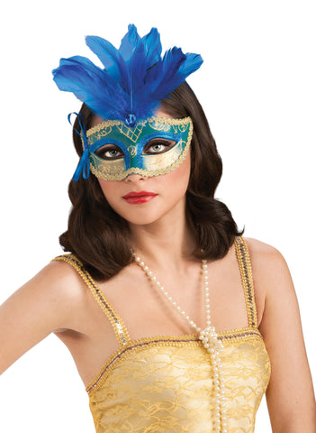 Blue & Gold Feathered Carnival Eyemask