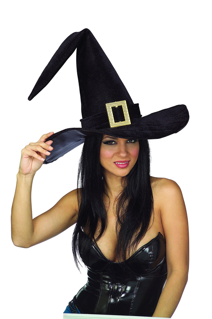 Black Witch Hat with Buckle - HalloweenCostumes4U.com - Accessories