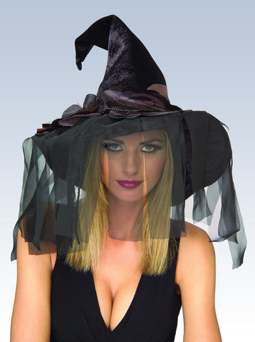 Black Rose Witch Hat - HalloweenCostumes4U.com - Accessories