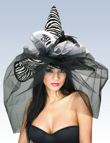 Zebra Witch Hat with Feathers and Veil - HalloweenCostumes4U.com - Accessories