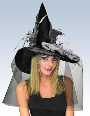 Black Feather Witch Hat - HalloweenCostumes4U.com - Accessories