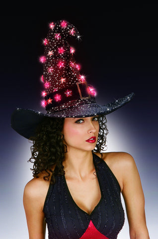 Black Witch hat with Lightup Stars - HalloweenCostumes4U.com - Accessories