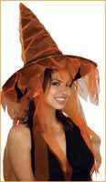 Orange Ghost Witch Hat - HalloweenCostumes4U.com - Accessories