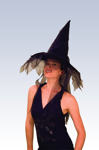 Black Witch Hat w/ Veils - HalloweenCostumes4U.com - Accessories