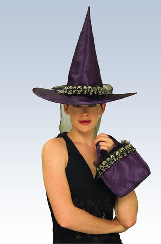 Skull Witch Hat and Handbag - Various Colors - HalloweenCostumes4U.com - Accessories - 1