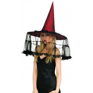 French Veil Witch Hat - HalloweenCostumes4U.com - Accessories