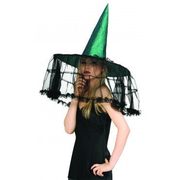 Emerald Witch Hat with French Veil - HalloweenCostumes4U.com - Accessories