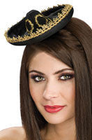 Black and Gold Mini Sombrero - HalloweenCostumes4U.com - Accessories