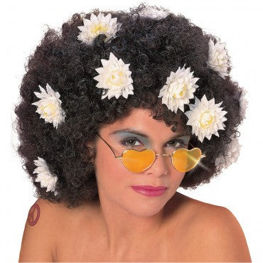 Curly Wig with Daisies - Various Colors - HalloweenCostumes4U.com - Accessories - 2