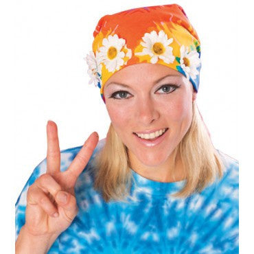 Tie-Dyed Bandanna With Daisy Trim - HalloweenCostumes4U.com - Accessories