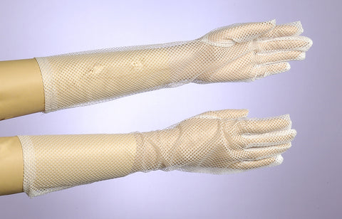 Gloves-Long Fishnet White - HalloweenCostumes4U.com - Accessories