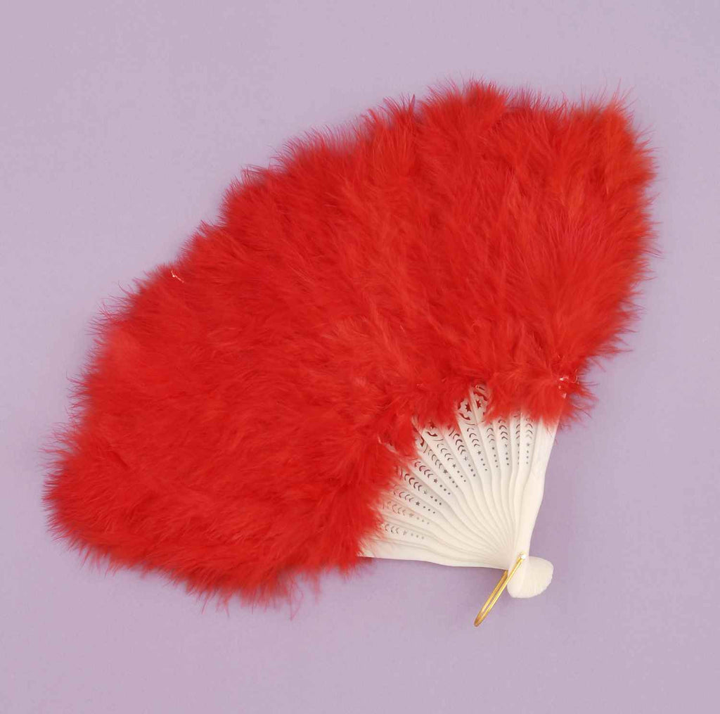 Costume Feather Fans Red Showgirl Fan