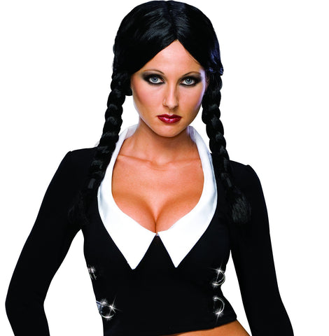 Addams Family Deluxe Wednesday Addams Wig - HalloweenCostumes4U.com - Accessories