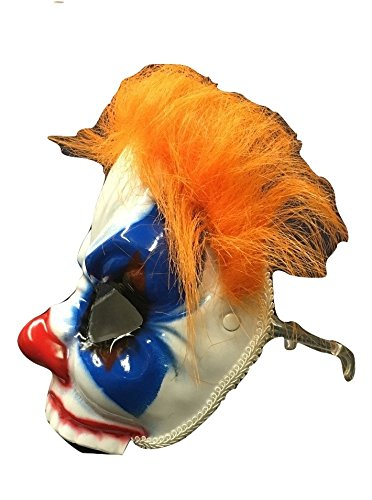 Evil Clown Mask w/ Hair & Eyeglass Arms