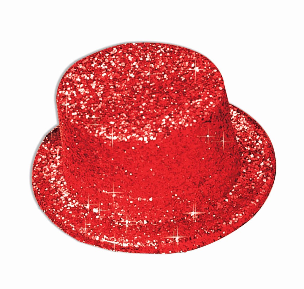Costume Hats Red Glitter Top Hats
