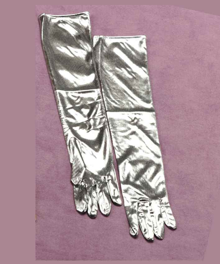 Halloween Costume Gloves Silver Lame Gloves - HalloweenCostumes4U.com - Accessories